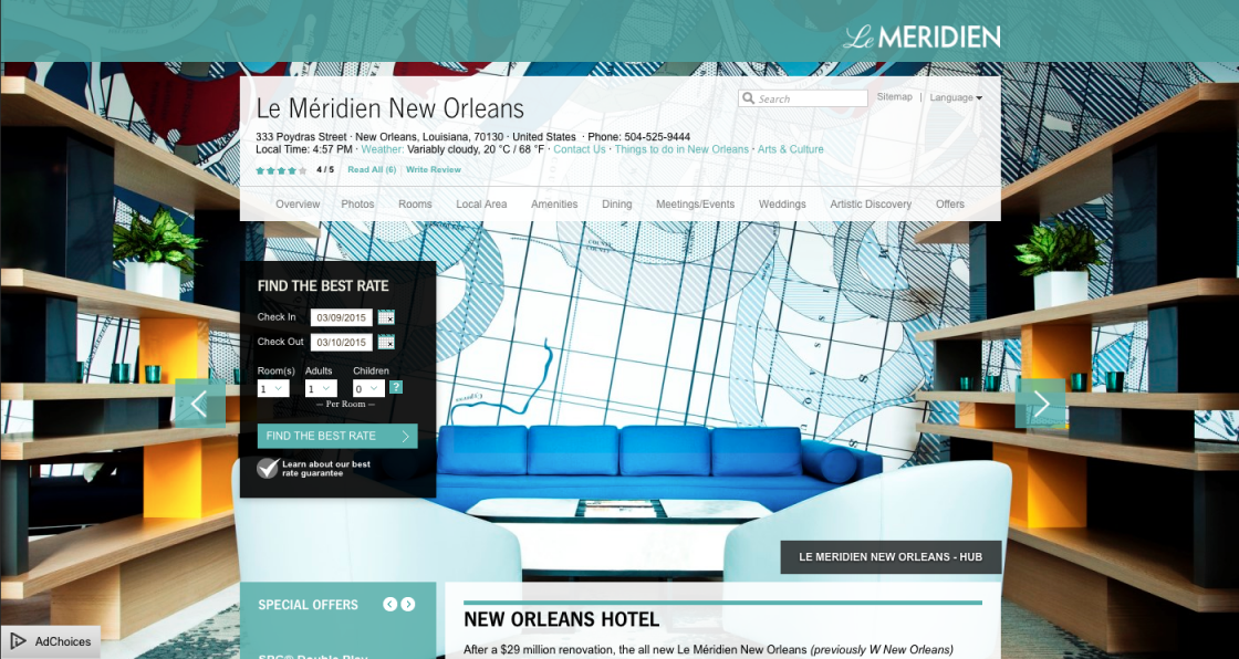 The map is featured on the home page for Le Meridien's website: http://www.lemeridienneworleanshotel.com