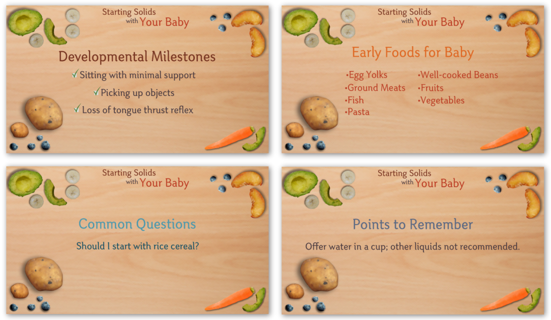 Sample text slides from Starting Solids with Your Baby - Parent Edition.