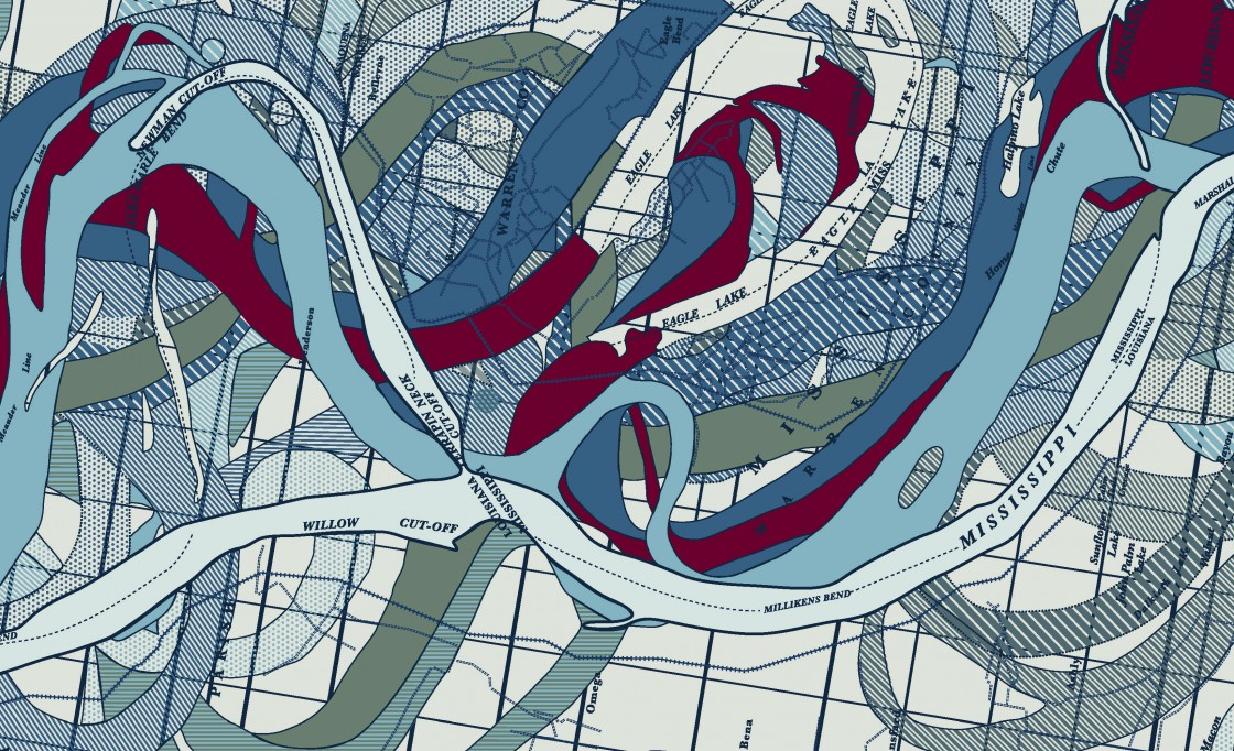 Detail excerpt from this 36'w x 24'h custom map of the Mississippi Delta for Le Meridien Hotel in New Orleans.