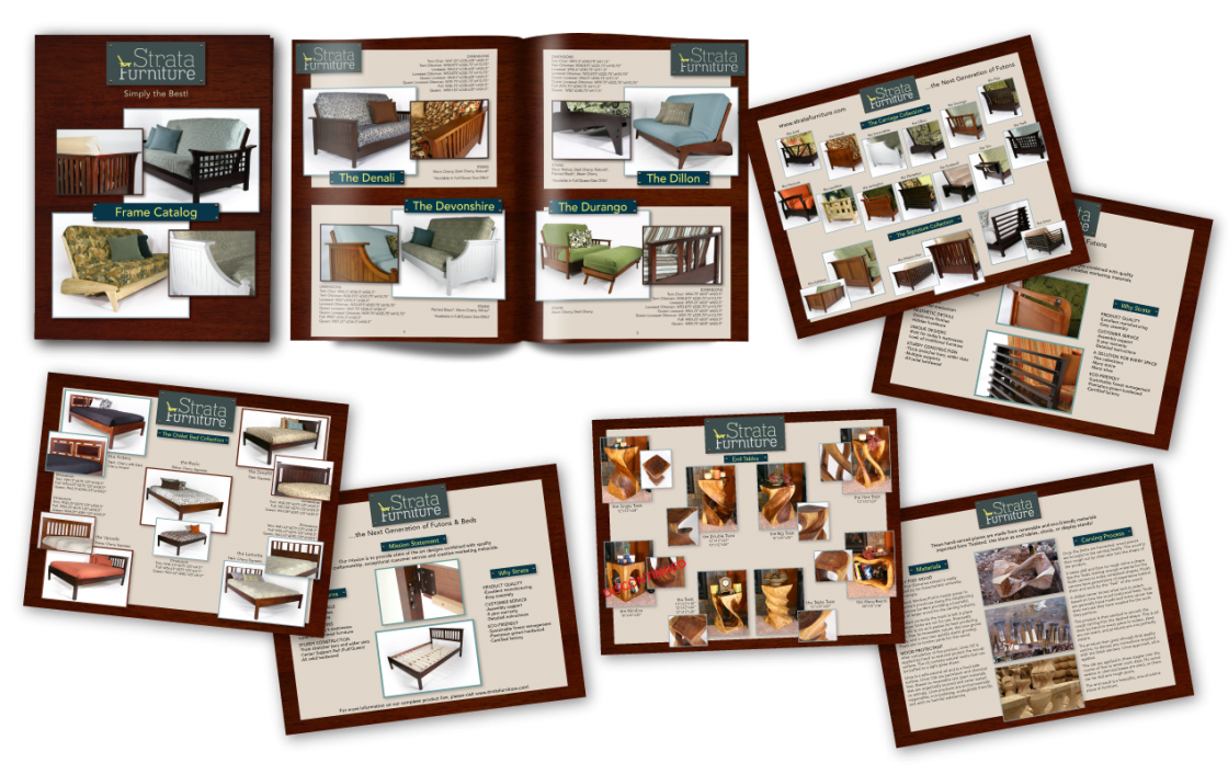 Strata Furniture's retailers also needed devices for product information. I created a full color catalog for their most established product line: futon frames. Over the years Strata began adding additional product lines with rotating items as they judged customer interest and sales. For these collections I created single-page customer handouts that could be easily updated and were more cost-effective for frequent changes.